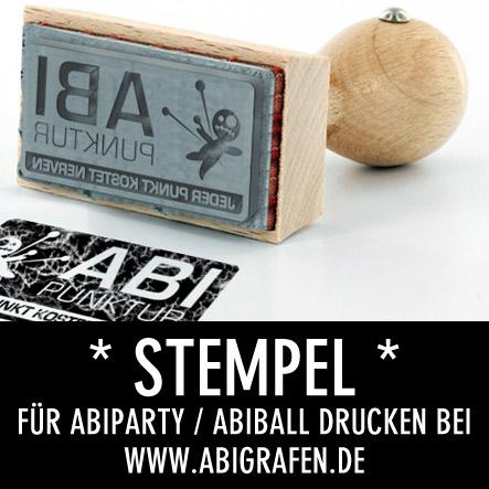 Abi Druckerei: Stempel mit Abilogo / Abispruch für Abiparty / Abiball