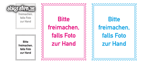 Kostenlose Vorlage für Abizeitung/Abibuch (Platzhalter Steckbrief – Briefmarke)